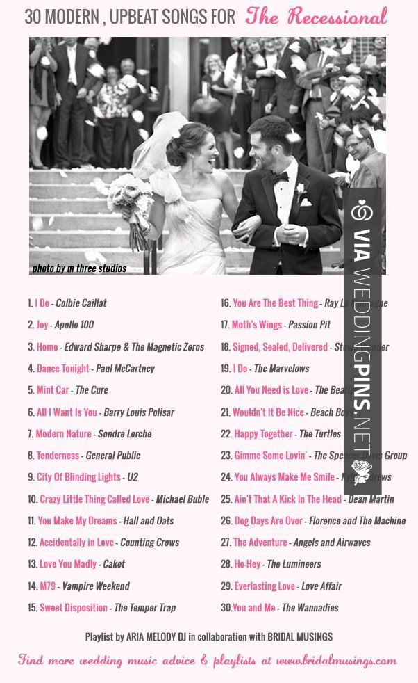 Wedding Reception Songs 2015 30 Modern Upbeat Awesome Recessional Songs For Your Walk Back Up